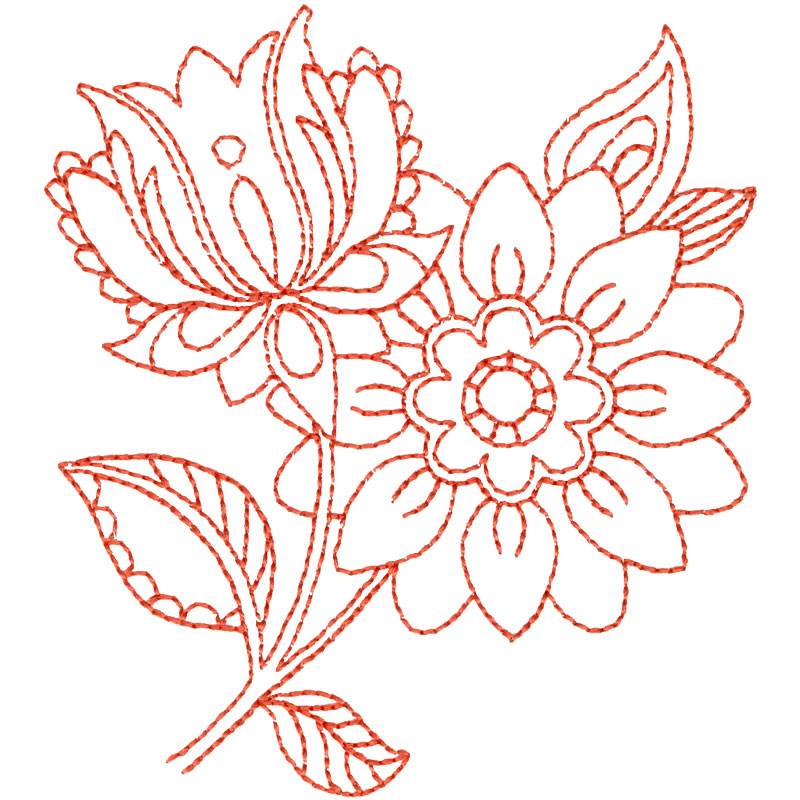 Line Work Design : Embroidery designs flowers free