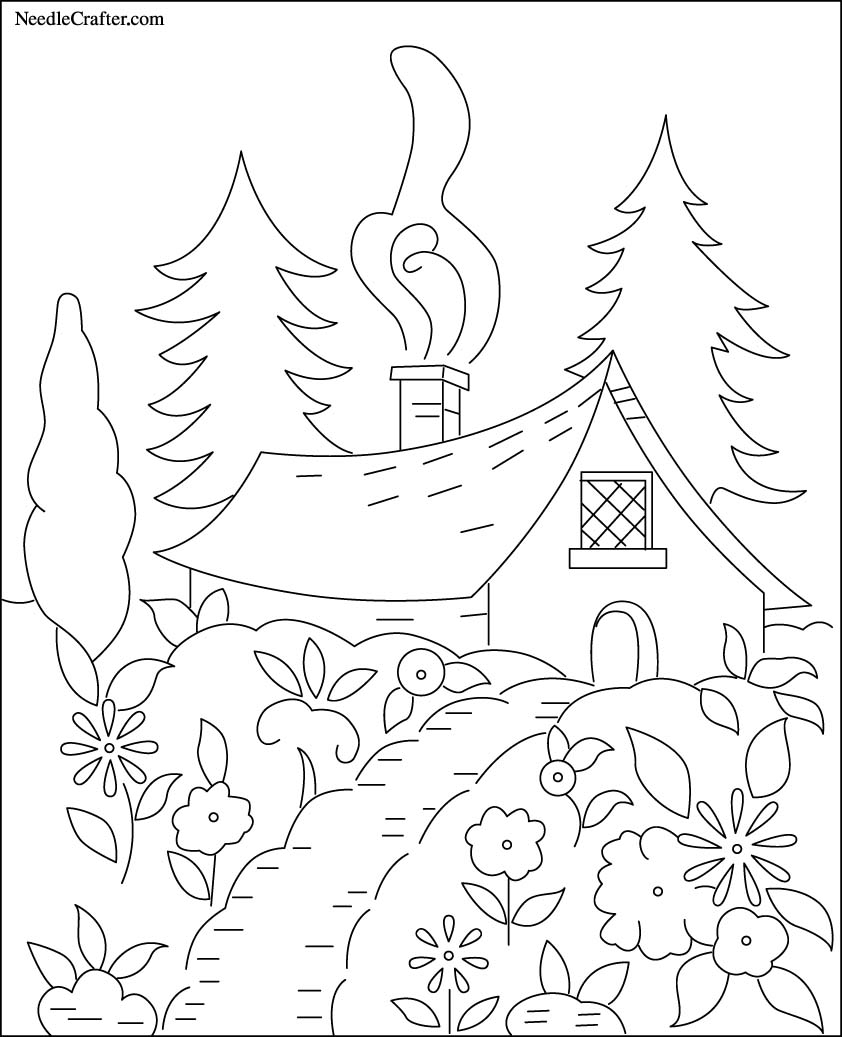 Free Hand Embroidery Pattern Cottage In The Wo