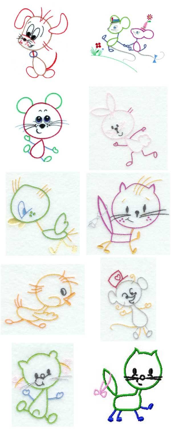 Free Embroidery Design Kids Line Art Fun Machine