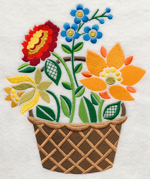 Free Flower Basket Embroidery Designs : Free embroidery design hungarian flower basket