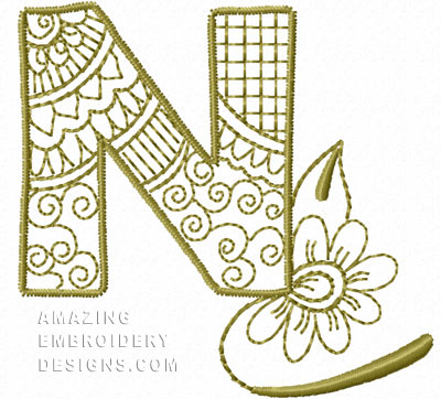 Free Embroidery Design Letter N