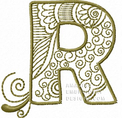 Free Embroidery ...R Design Letter