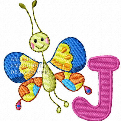 Free Embroidery Design Bugs Letter J