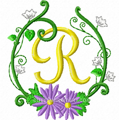 Free Embroidery Design Floral Frame Letter R I Sew Free