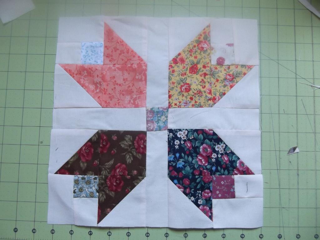 Free Quilt Pattern: Scrappy Calico Tulip Quilt Block