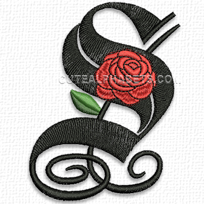 K Letter In Rose Free Embroidery Design: Gothic Rose Font – S