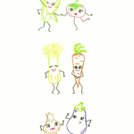 Free Hand Embroidery Pattern & Tutorial:  Dancing Vegetables Dishtowel