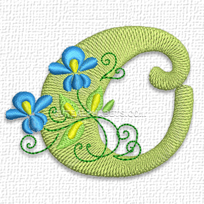 Free Embroidery ...O Design Letter
