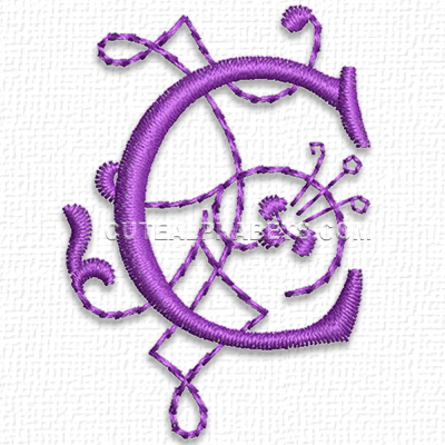 Free Embroidery Design: Purple Heart Font – Letter C