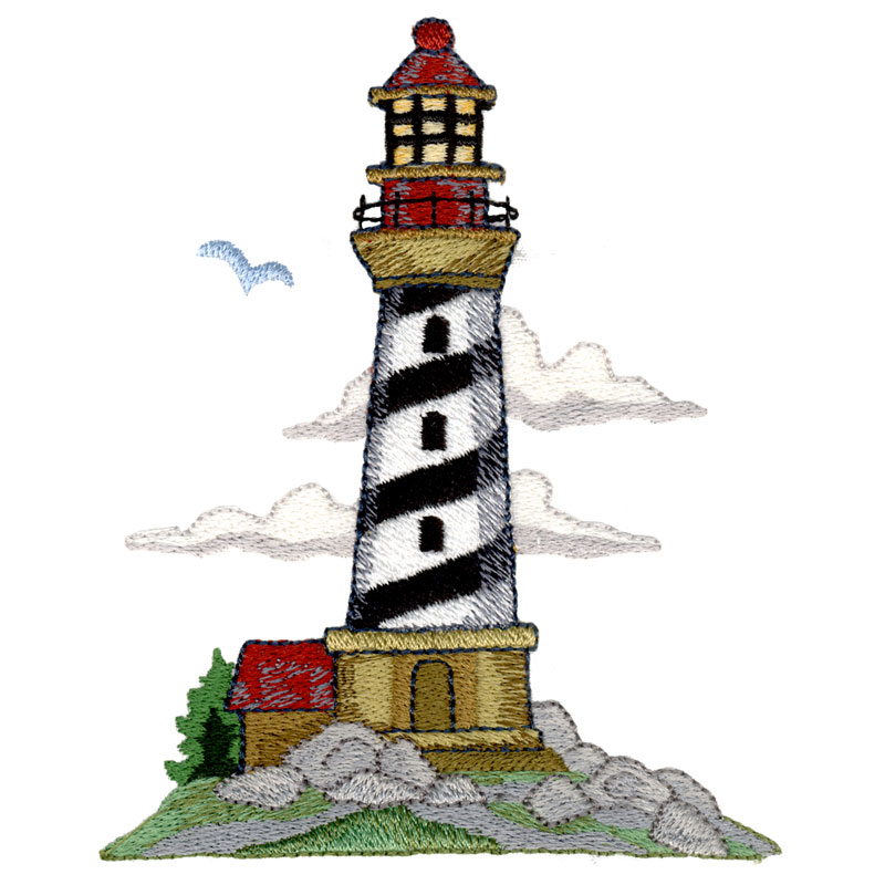 Free Embroidery Design Black White Diagonal Lighthouse