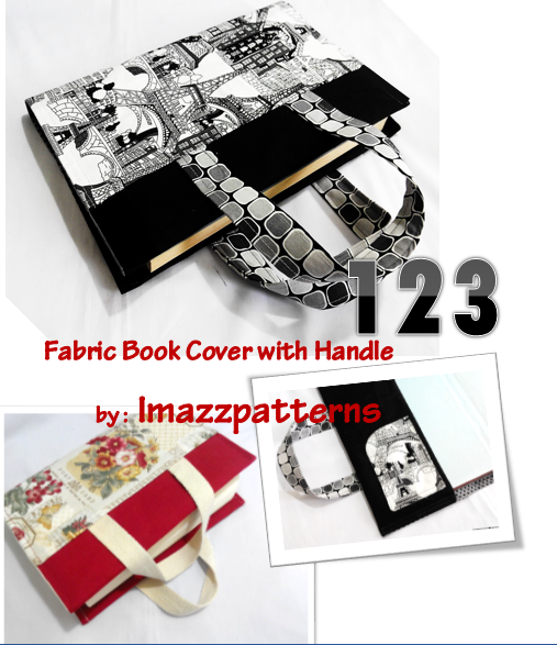 Book Cover With Handles Tutorial ~ Free sewing pattern book bag cover with