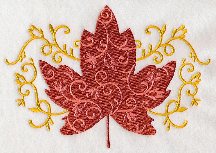 Leaf machine embroidery designs makaroka