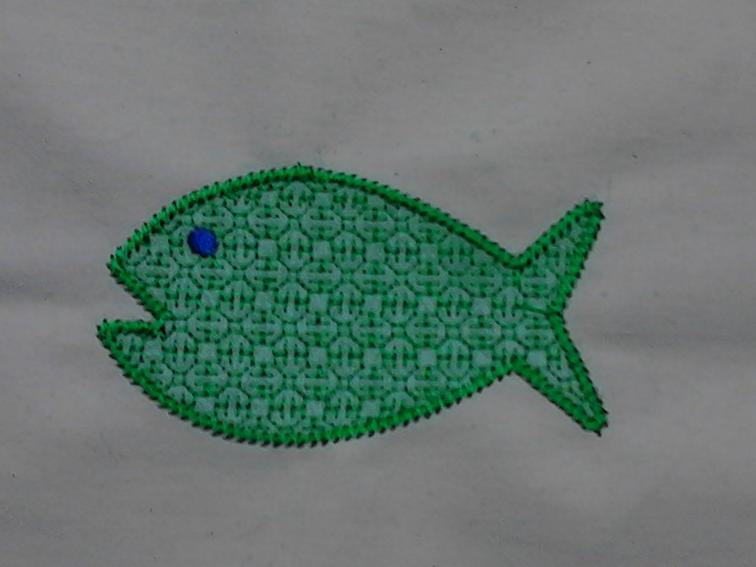 Free embroidery design mylar applique simple fish machine