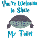 Free Embroidery Design:  You're Welcome To Share My Toilet