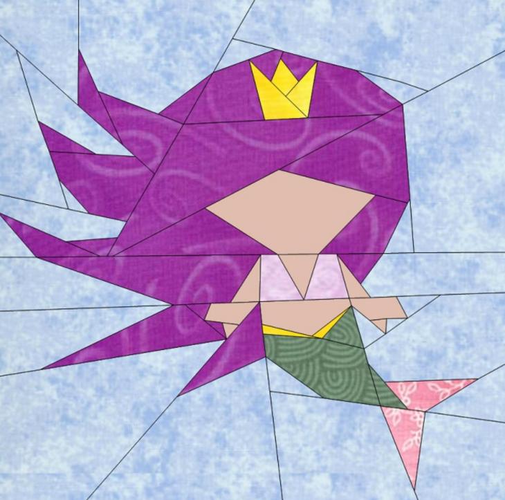 Free Quilt Pattern Mermaid Bitty Block I Sew Free