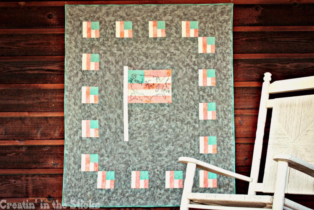 Free Quilt Pattern: Land that I love Quilt – Flag with US Map | I ...