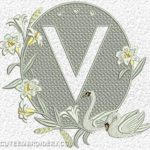 Free Embroidery Design:  Letter V