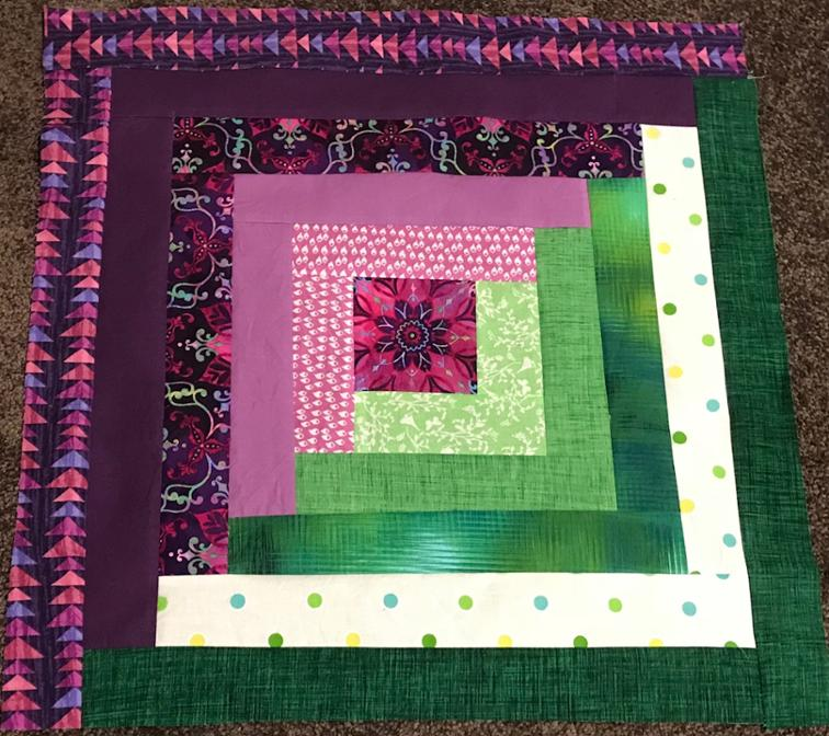 Free Quilt Pattern Log Cabin Block Purple Delight Quilt