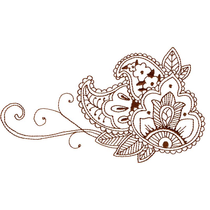 Free Embroidery Design Mehndi Vines Flowers I Sew Free