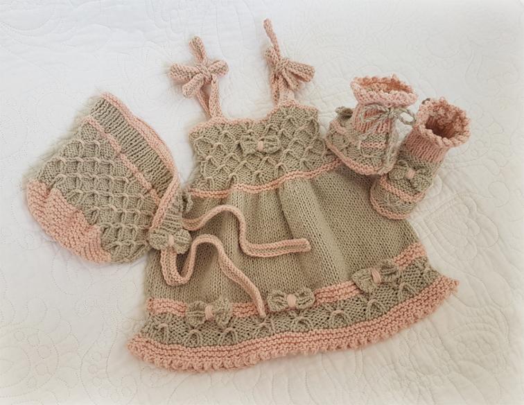 Free Knitting Pattern: Bo-Peep Baby Dress, Bonnet and Booties (0 ...