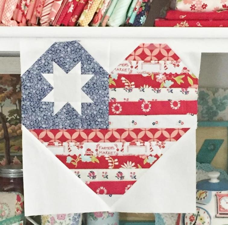 Free Quilt Pattern I Heart America Quilt Block I Sew Free