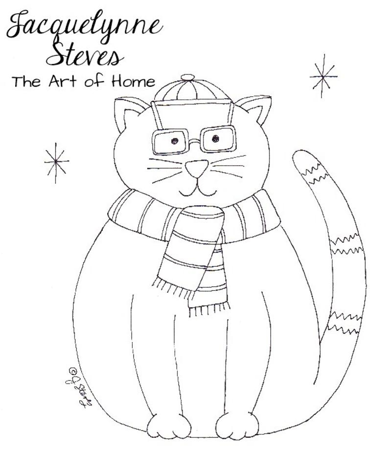 Free Hand Embroidery Pattern Fat Cat Christmas I Sew Free