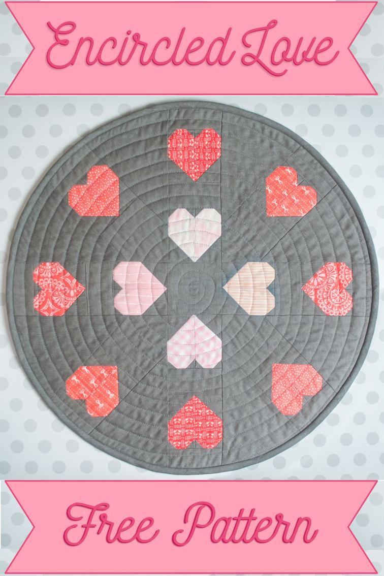 Free Quilt Pattern Encircled Love Mini Quilt I Sew Free
