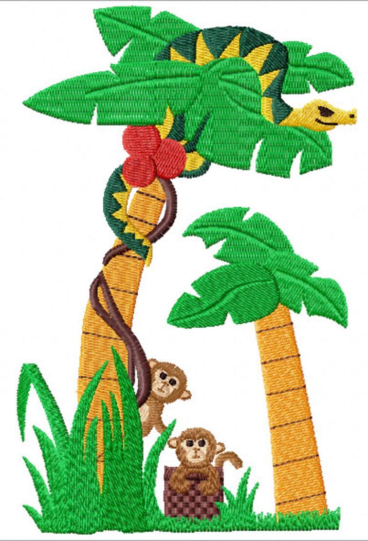 Free Embroidery Design Monkey Snake I Sew Free