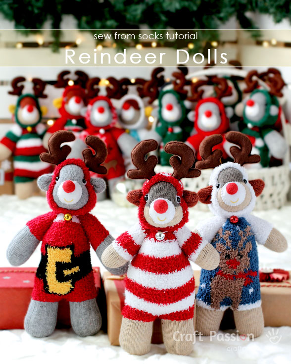 Free Sewing Pattern: Sock Reindeer Stuffed Animal | I Sew Free