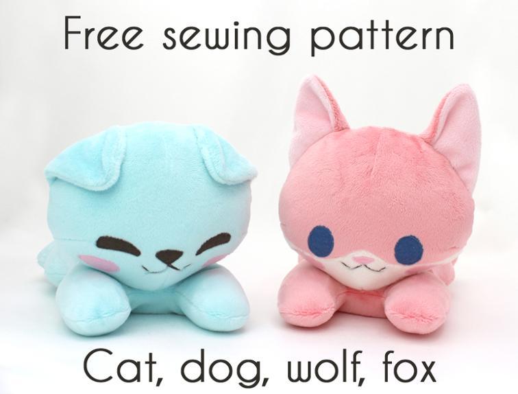 Free Sewing Pattern: Plushie Cat, Dog, Wolf, & Fox | I Sew Free